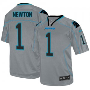 Nike Carolina Panthers 1 Cam Newton Lights Out Grey Elite Football Jersey