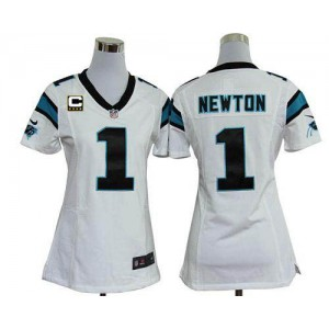 Nike Panthers 1 Cam Newton White With C Patch Women's Elite Jersey