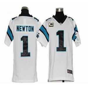 Youth Nike Carolina Panthers 1 Cam Newton White C Patch Elite Jersey