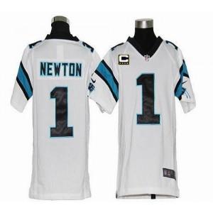Youth Nike Carolina Panthers 1 Cam Newton White C Patch Elite Jersey