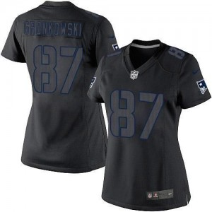 Nike Patriots #87 Rob Gronkowski Black Impact Women's Embroidered NFL Limited Jersey