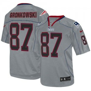 Nike Patriots #87 Rob Gronkowski Lights Out Grey Youth Embroidered NFL Elite Jersey