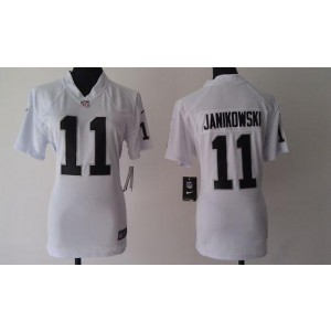 NFL Nike Raiders 11 Sebastian Janikowski White Women's Elite Jersey