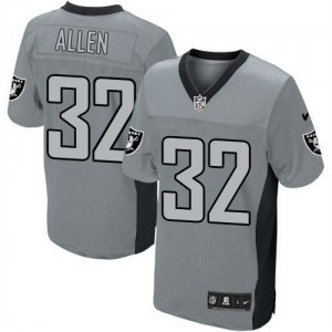 Nike Oakland Raiders No.32 Marcus Allen Grey Shadow Embroidered Elite Jersey