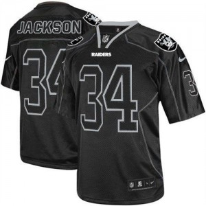 Nike Raiders #34 Bo Jackson Lights Out Black Youth Embroidered NFL Elite Jersey