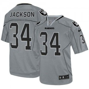 Nike Raiders #34 Bo Jackson Lights Out Grey Youth Embroidered NFL Elite China Jerseys