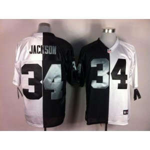 Nike Oakland Raiders No.34 Bo Jackson White Black Elite Split Jersey