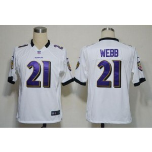 Nike NFL Baltimore Ravens 21 Lardarius Webb White NFL Game Football Jersey