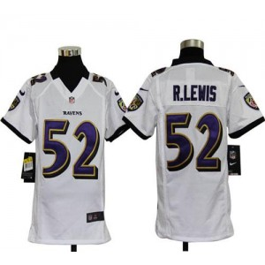 Youth Nike Baltimore Ravens 52 Ray Lewis White NFL Elite Jersey