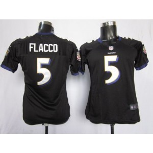 NFL Nike Baltimore Ravens 5 Joe Flacco Black Women's Elite Jersey