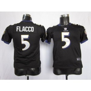 Youth Nike Baltimore Ravens 5 Joe Flacco Black NFL Elite Jersey
