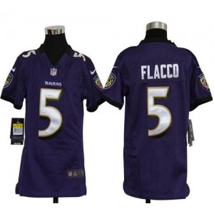 Youth Nike Baltimore Ravens 5 Joe Flacco Purple NFL Elite Jersey