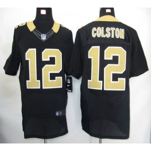 Nike New Orleans Saints No.12 Marques Colston Black Elite Jersey