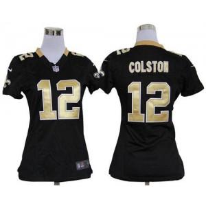 NFL Nike Saints 12 Marques Colston Black Women's Elite Jersey