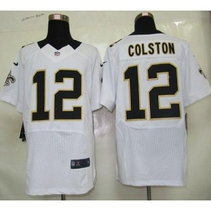 Nike New Orleans Saints No.12 Marques Colston White Elite Jersey