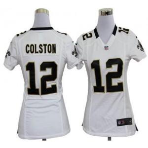 NFL Nike Saints 12 Marques Colston White Women's Elite Jersey