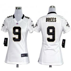 NFL Nike Saints 9 Drew Brees White Women's Elite Jersey