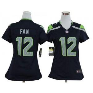 NFL Nike Seahawks 12 Fan Steel Blue Women's Elite Jersey