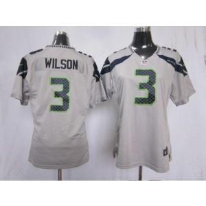 NFL Nike Seahawks 3 Russell Wilson Grey Women's Elite Jersey