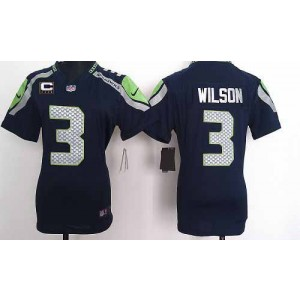 NFL Nike Seahawks 3 Russell Wilson Steel Blue With C Patch Women's Elite Jersey