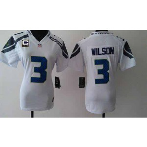NFL Nike Seahawks 3 Russell Wilson White With C Patch Women's Elite Jersey