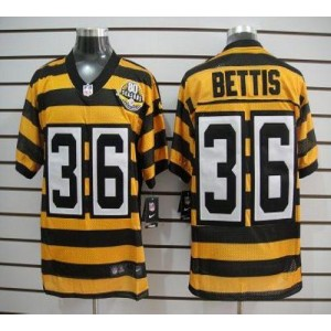 Nike Pittsburgh Steelers No.36 Jerome Bettis Yellow Black 80TH Throwback Elite Jersey