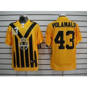 Nike Pittsburgh Steelers No.43 Troy Polamalu Gold 1933s Throwback Elite Jersey