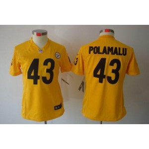 NFL Nike Steelers 43 Troy Polamalu Gold Women's Limited Jersey