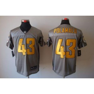 Nike Pittsburgh Steelers No.43 Troy Polamalu Grey Shadow Elite Jersey