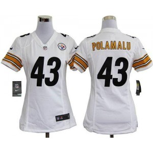 NFL Nike Steelers 43 Troy Polamalu White Women's Elite Jersey