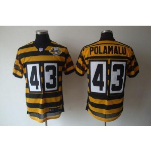 Nike Pittsburgh Steelers No.43 Troy Polamalu Yellow Black 80TH Anniversary Throwback Elite Jersey
