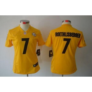 NFL Nike Steelers 7 Ben Roethlisberger Gold Women's Limited Jersey