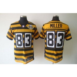 Nike Pittsburgh Steelers No.83 Heath Miller Yellow Black 80TH Throwback Elite Jersey
