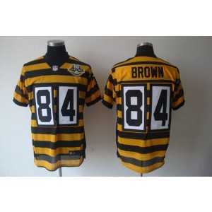 Nike Pittsburgh Steelers No.84 Antonio Brown Yellow Black 80TH Anniversary Throwback Elite Jersey