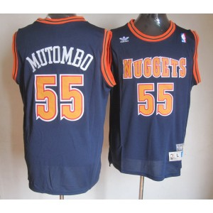 NBA Nuggets 55 Dikembe Mutombo Blue Throwback Men Jersey