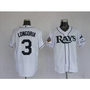 MLB Rays 3 Evan Longoria White Men Jersey