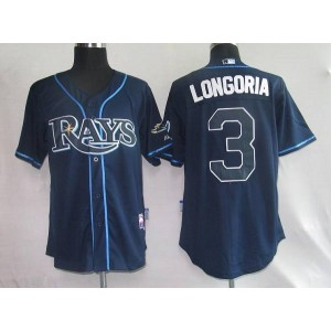 MLB Rays 3 Evan Longoria Gark Blue Men Jersey