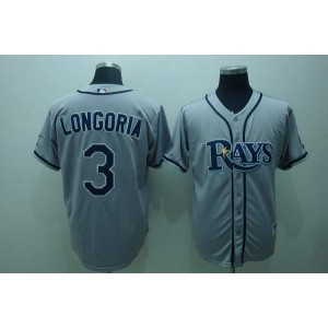 MLB Rays 3 Evan Longoria Grey Men Jersey