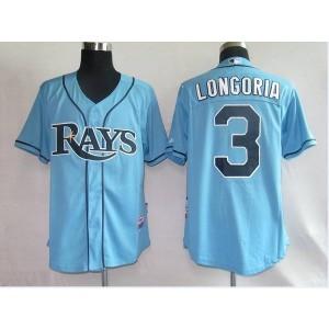 MLB Rays 3 Evan Longoria Light Blue Men Jersey