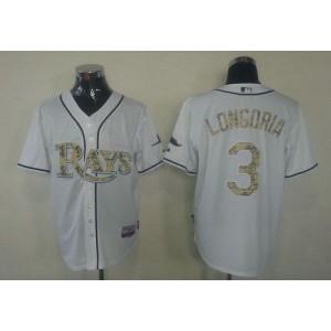 MLB Rays 3 Evan Longoria White USMC Cool Base Men Jersey
