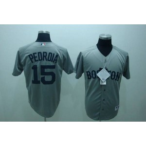 MLB Red Sox 15 Dustin Pedroia Grey Men Jersey