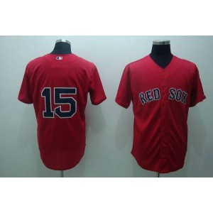 MLB Red Sox 15 Dustin Pedroia Red Men Jersey