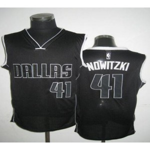 NBA Mavericks 41 Dirk Nowitzki Black White Revolution 30 Men Jersey