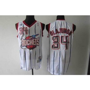 NBA Rockets 34 Hakeem Olajuwon White Throwback Men Jersey
