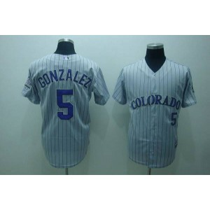 MLB Rockies 5 Carlos Gonzalez Grey Men Jersey