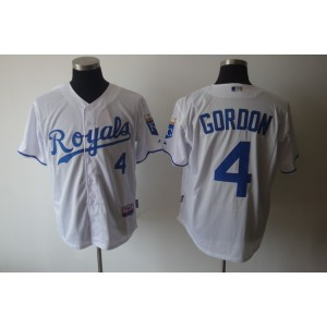 MLB Royals 4 Alex Gordon White Cool Base Men Jersey