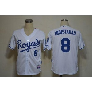 MLB Royals 8 Mike Moustakas White Cool Base Men Jersey