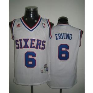 NBA 76ers 6 Julius Erving Throwback White Men Jersey