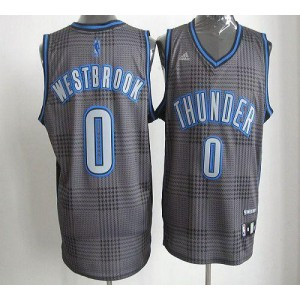 NBA Thunder 0 Russell Westbrook Black Rhythm Men Jersey