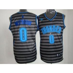 NBA Thunder 0 Russell Westbrook Black Grey Groove Men Jersey